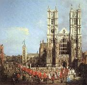 London: Westminster Abbey, with a Procession of Knights of the Bath  f Canaletto