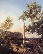 Capriccio: River Landscape with a Column f Canaletto