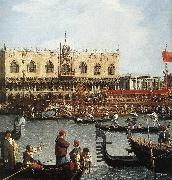 Return of the Bucentoro to the Molo on Ascension Day (detail) d Canaletto