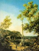 Capriccio-River Landscape with a Column, a Ruined Roman Arch and Reminiscences of England Canaletto