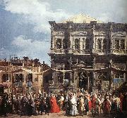 The Feast Day of St Roch (detail) f Canaletto