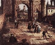 Rome: The Arch of Constantine (detail) fd Canaletto