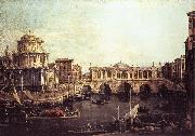 Capriccio: The Grand Canal, with an Imaginary Rialto Bridge and Other Buildings fg Canaletto