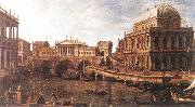 Capriccio: a Palladian Design for the Rialto Bridge, with Buildings at Vicenza Canaletto