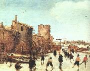 Skaters on the Moat by the Walls Esaias Van de Velde