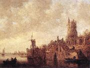 River Landscape with a Windmill and a Ruined Castle sdg GOYEN, Jan van