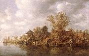 Village at the River Jan van Goyen