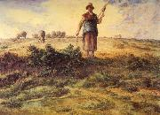 A Shepherdess and her Flock Watercolour heightened with white Jean-Franc Millet