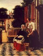 Woman and a Maid with a Pail in a Courtyard Pieter de Hooch