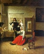 Woman Drinking with Soldiers Pieter de Hooch