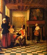 Woman Drinking with Two Men and a Maidservant Pieter de Hooch