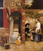 Courtyard with an Arbor and Drinkers Pieter de Hooch
