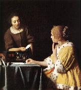 Lady with Her Maidservant Holding a Letter wetr VERMEER VAN DELFT, Jan