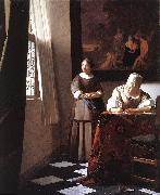 Lady Writing a Letter with Her Maid ar VERMEER VAN DELFT, Jan