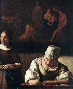 Lady Writing a Letter with Her Maid (detail) set VERMEER VAN DELFT, Jan