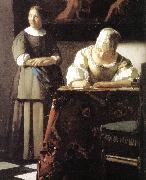 Lady Writing a Letter with Her Maid (detail)  ert VERMEER VAN DELFT, Jan