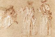 Three Studies of a Lady with a Hat WATTEAU, Antoine