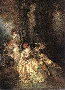 Harlequin and Columbine WATTEAU, Antoine