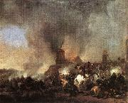 Cavalry Battle in front of a Burning Mill tfur WOUWERMAN, Philips
