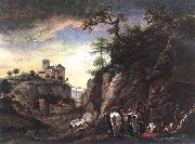 Rocky Landscape with resting Travellers qr WOUWERMAN, Philips