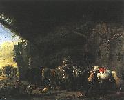 Scene in front of an Inn wet WOUWERMAN, Philips