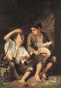 Boys Eating Fruit (Grape and Melon Eaters) sg MURILLO, Bartolome Esteban