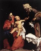 Madonna and Child with St Anne dt SARACENI, Carlo