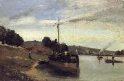 Barge on the Seine Peniche sur la Seine Camille Pissarro