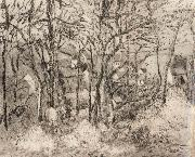 Wooded landscape at L-Hermitage,Pontoise Camille Pissarro