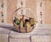 apples and pears in a round basket Camille Pissarro