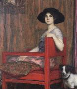 Mary von Stuck in a Red Armchair Fernand Khnopff