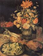 Still Life with Flowers and Food Georg Flegel
