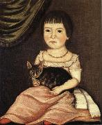 Child Posing with Cat Beardsley Limner