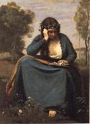 Reader crowned of flowers or The Muse of virgil Corot Camille