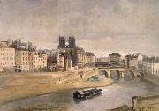 The Seine and the Quai give orfevres Corot Camille