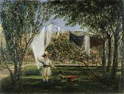 Child in a Garden with His Little Horse and Cart Charles Robert Leslie
