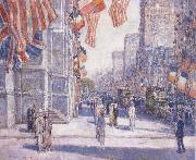 Early Morning on the Avenue in May 1917 Childe Hassam