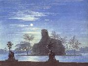 The Garden of Sarastro by Moonlight with Sphinx,decor for Mozart-s opera Die Zauberflote Karl friedrich schinkel