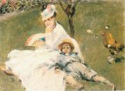 Camille Monet and Her son Jean in the Garden at Arenteuil renoir
