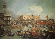 The Bucintoro in Front of the Doges- Palace on Ascension Day Canaletto