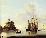 An English two-deker and a Dutch barge at anchor off a coastal fort Francis Swaine