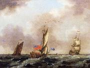 A royal yacht and a merchantman in choppy seas Francis Swaine