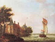 A wooded river landscape in Hoolland with a Dutch hooder under sail in a brisk wind Francis Swaine