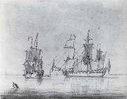 A drawing of a small British Sixth-rate warship in two positions Francis Swaine