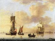 A royal yacht and small naval ship in a calm Francis Swaine