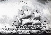 A drawing of a British two-decker off Calshot Castle Francis Swaine