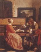 A Man and a Woman Seated by a Virginal Gabriel Metsu
