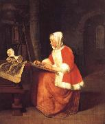 A Young Woman Seated Drawing Gabriel Metsu