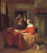 A Woman Seated at a Table and a Man Tuning a Violin Gabriel Metsu
