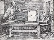 Man Drawing a lute with the monogram of the artist from the Manual of Measure-ment Jacopo de Barbari